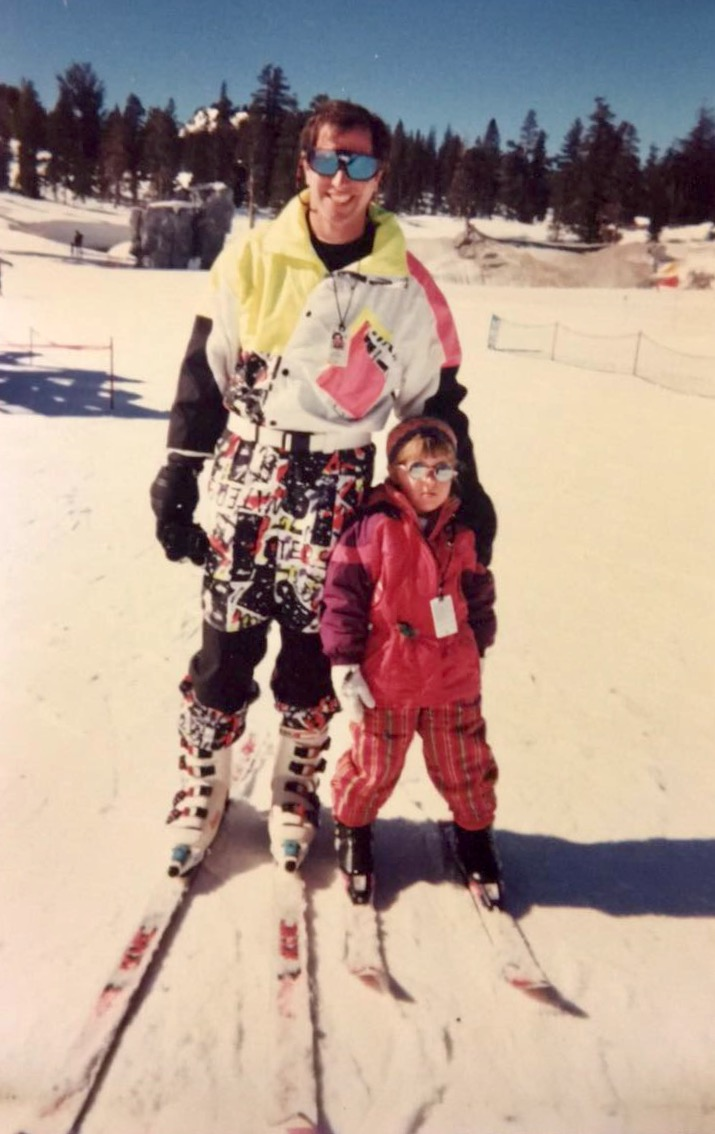 Me in my youth crushing it on two planks at Mammoth Mountain Ski Area before I decided skiing was for losers. That's my dad next to me. He obviously has better fashion sense than you.