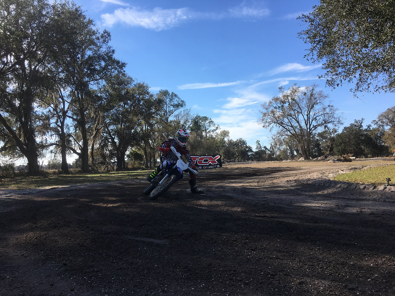 (Second day on a modern bike, his daily rider is a old Norton. Form isn't perfect yet, but he is starting to learn the ins and outs of how this flat track stuff works and building an understanding of why we focus on good habits and not riding until we are completely exhausted making mistakes)