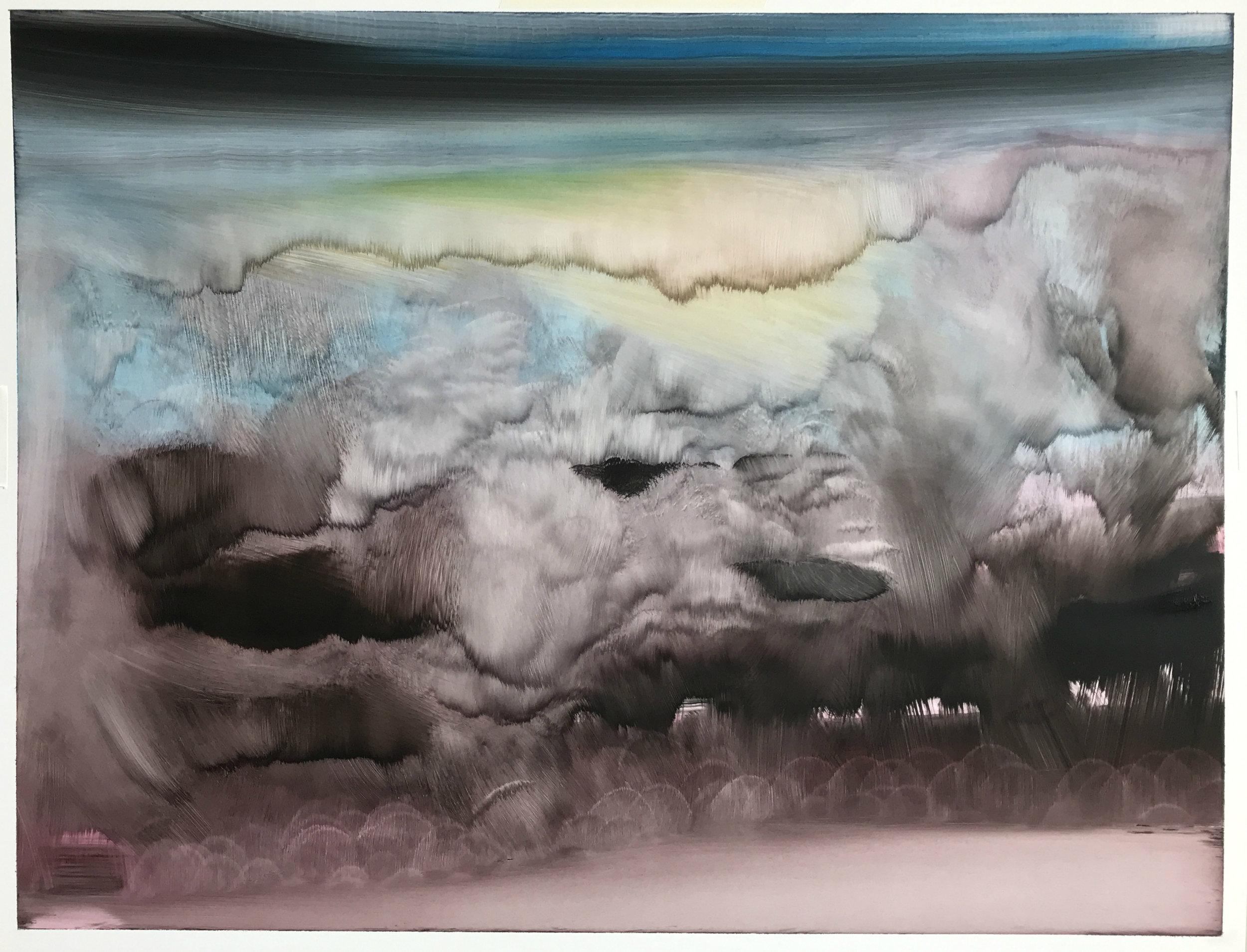 "O.T. (no.79), 20"" x 25"", oil on paper, 2018"