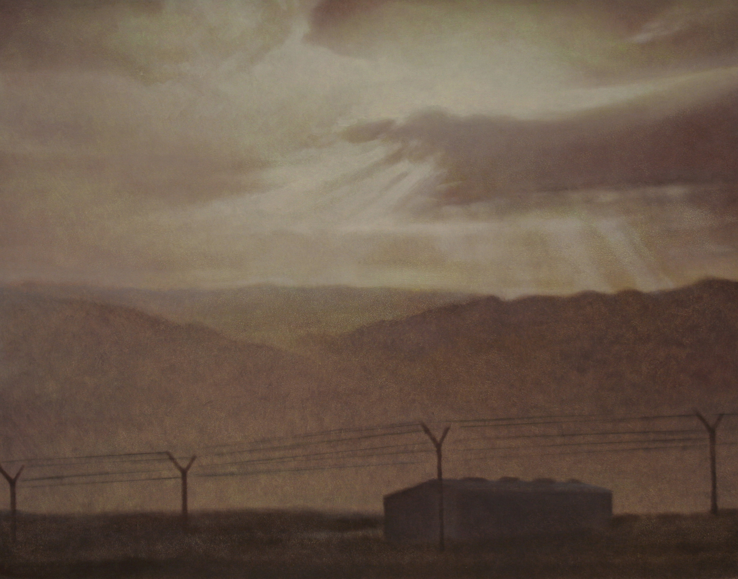 "Sangin District (Afghanistan), 11"" x 14"", oil on panel, 2012"