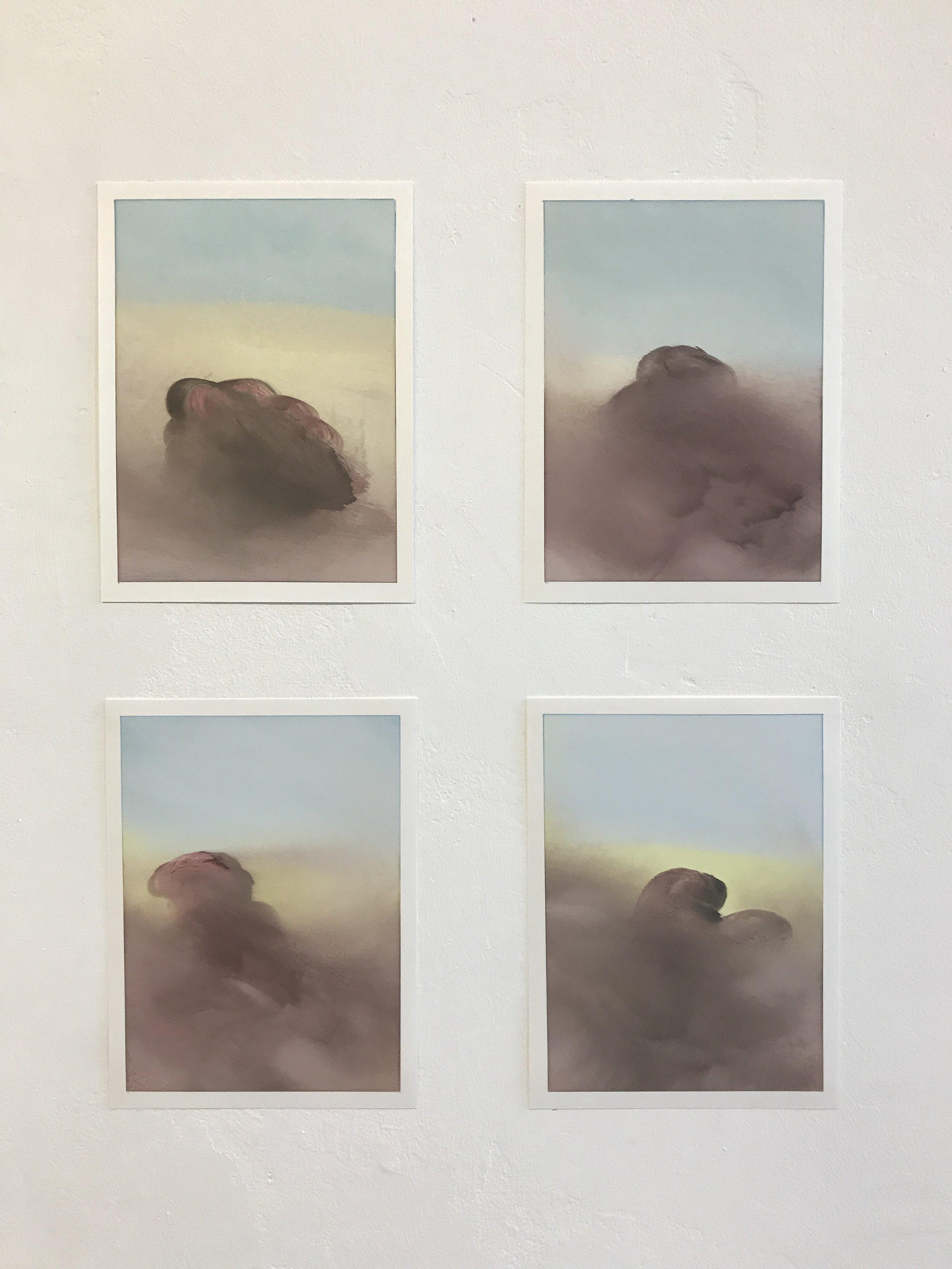 """Figuren 1-4, 9"""" x 12"""" each, oil on paper, 2019"""