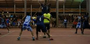 Men's Grand Final Hedland Pacers vs Mowanjum Heat (Jump Ball Lorenzo Ngerdu of Mowanjum Heat in Blue and Dylan Lands of the Hedland Pacers in White)