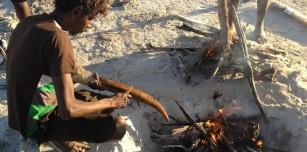 Cooking up kangaroo tail near Lake Gregory was a treat during Garnduwa's visit to Mulan.