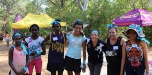 The Blue Smurfs pose for a team photo. Pictured (l to r) Martika Sampi (Lombadina), Davina (Warmun), Shania Mandijalu (Bidyadanga), Saphire Birch (Wyndham), Leah Allen (Garnduwa Kununurra), Rachel Burns (Skillhire Broome) and Norma Hunter (Broome)