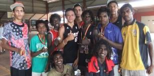 Winners of the men's championship for King of the Kimberley Junior Basketball Carnival-The Warmun Warriors