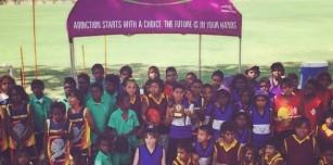 Fitzroy Valley school footballers enjoying the Eagles Cup Carnival