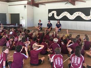 Tom Sheridan, Lachie Weller, & Connor Blakely visit Roebuck Primary School