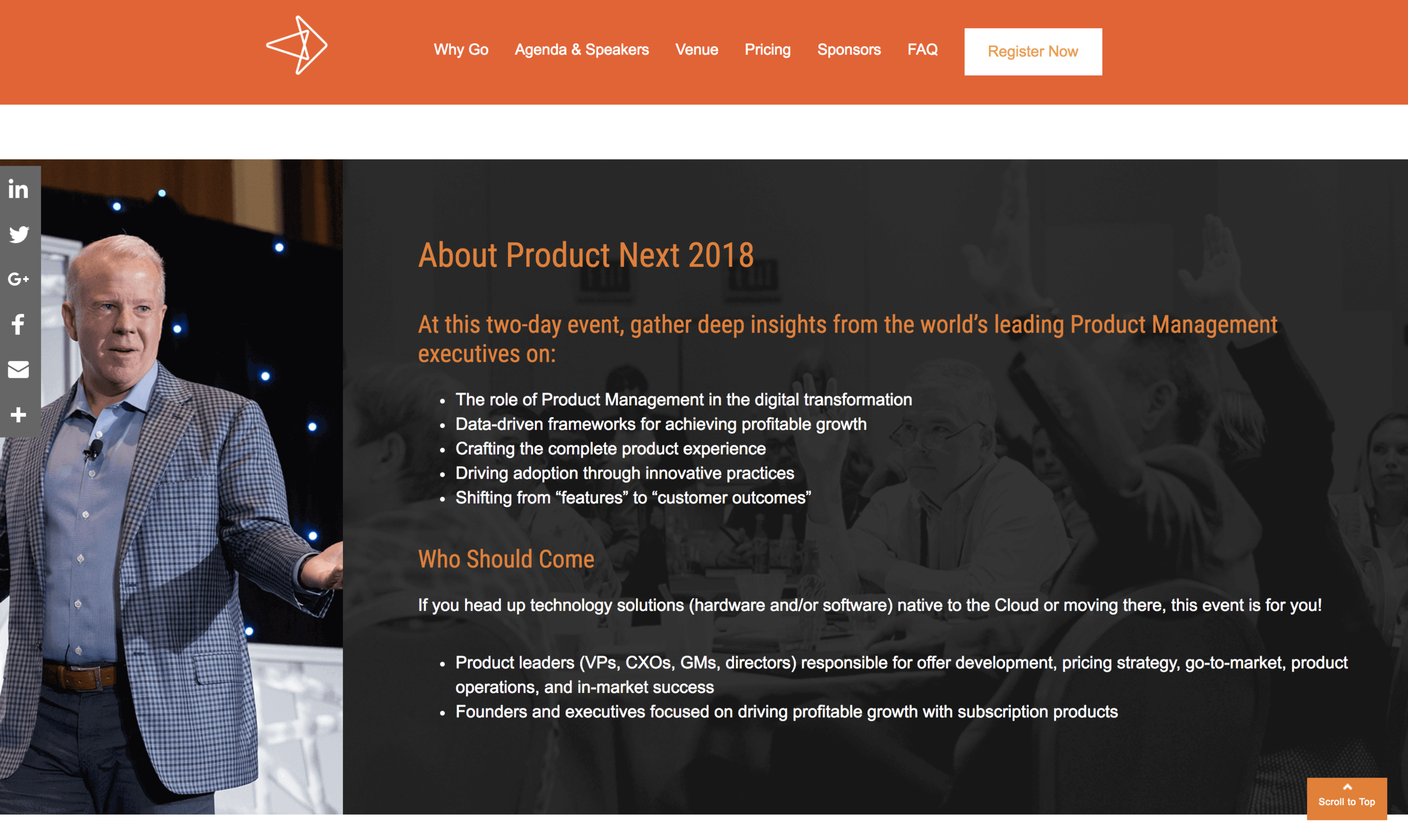 Client: Technology Services Industry Association (TSIA)/Product Next Industry: Product management for the technology industry Details: Single-page microsite