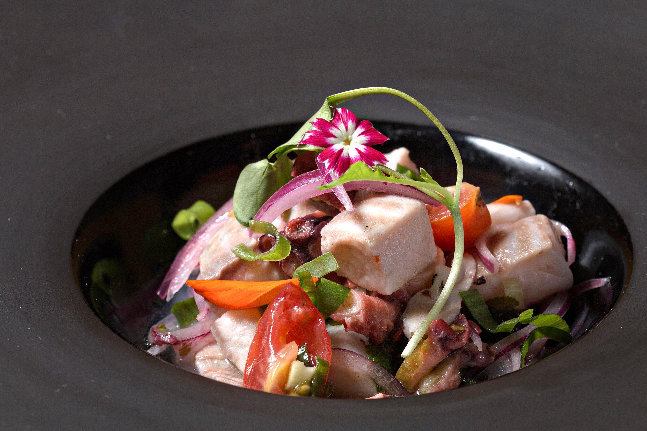 Copy of  Jantar - Entrada - Ceviche de peixe fresco e polvo, milho crocante e algas wakame