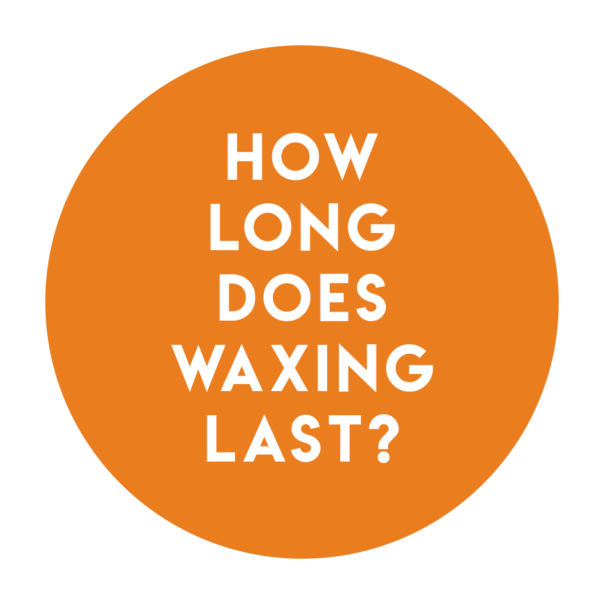 A. - It differs with people depending on how fast their hair grows. On average, waxing will last between 3-6 weeks depending on the area waxed. Remember the more you wax, the longer it will last!