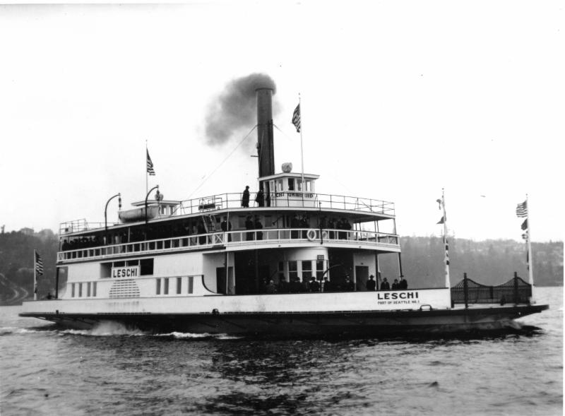 The Leschi, in her early steam sidewheel configuration. She was later converted to diesel engines with propellers. (Photo courtesy of Puget Sound Maritime)