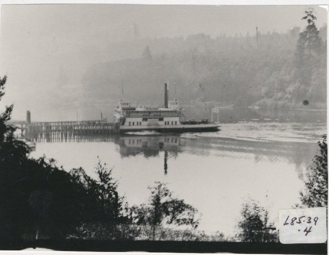 The wharf shown in the first photo was lengthened to accommodate the new car ferry Leschi in 1913. Regular ferry service to Meydenbauer Bay ended in 1920, but excursions to the bay continued into the 1930s. (L85.39.4)