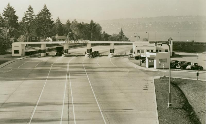 Toll plaza on Mercer Island, looking across Lake Washington to Seattle