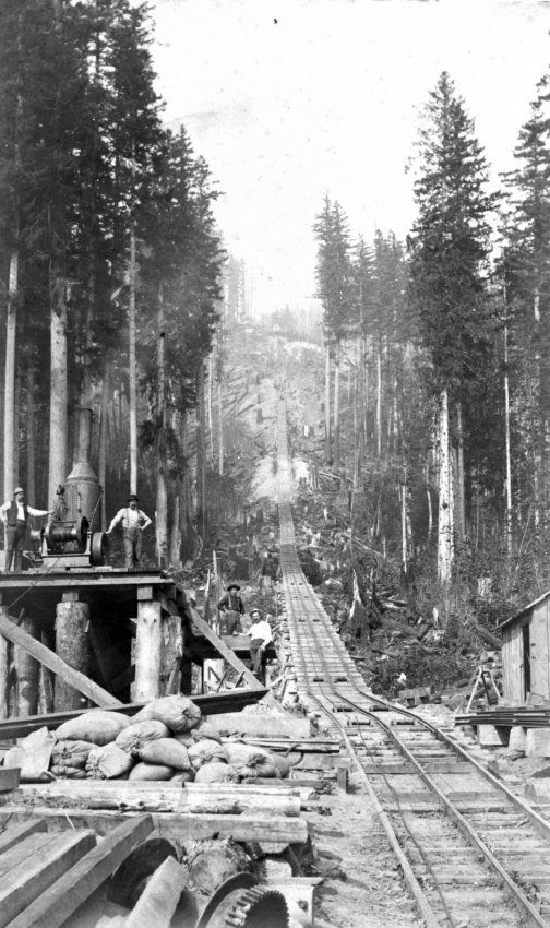 This tramway in Newcastle transported coal to barges on Lake Washington, (Eastside Heritage Center Photo)