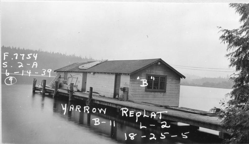 View to the southeast from Yarrow Point in 1939. The Houghton side of the bay was sparsely settled until the 1950s.