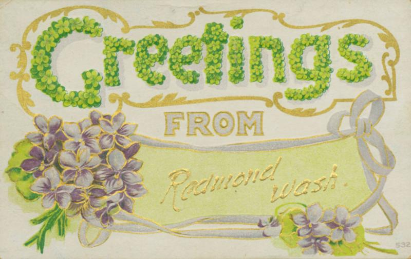 In 1910, when the postcard was mailed, Redmond was big enough not only to have its own souvenir cards, but also a local post office to mail them from.