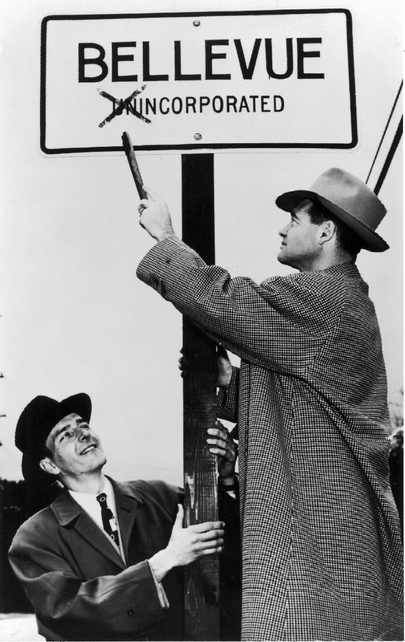 Eugene Boyd and Phil Reilly celebrate the incorporation of Bellevue in 1953
