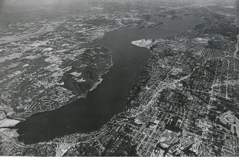 Historic aerial photograph of the northern end of Lake Washington in King County this shows how in spite of an awareness of the seismic activity in the area, people continued to settle in King County even after the first recorded earthquake in the early 1800s.