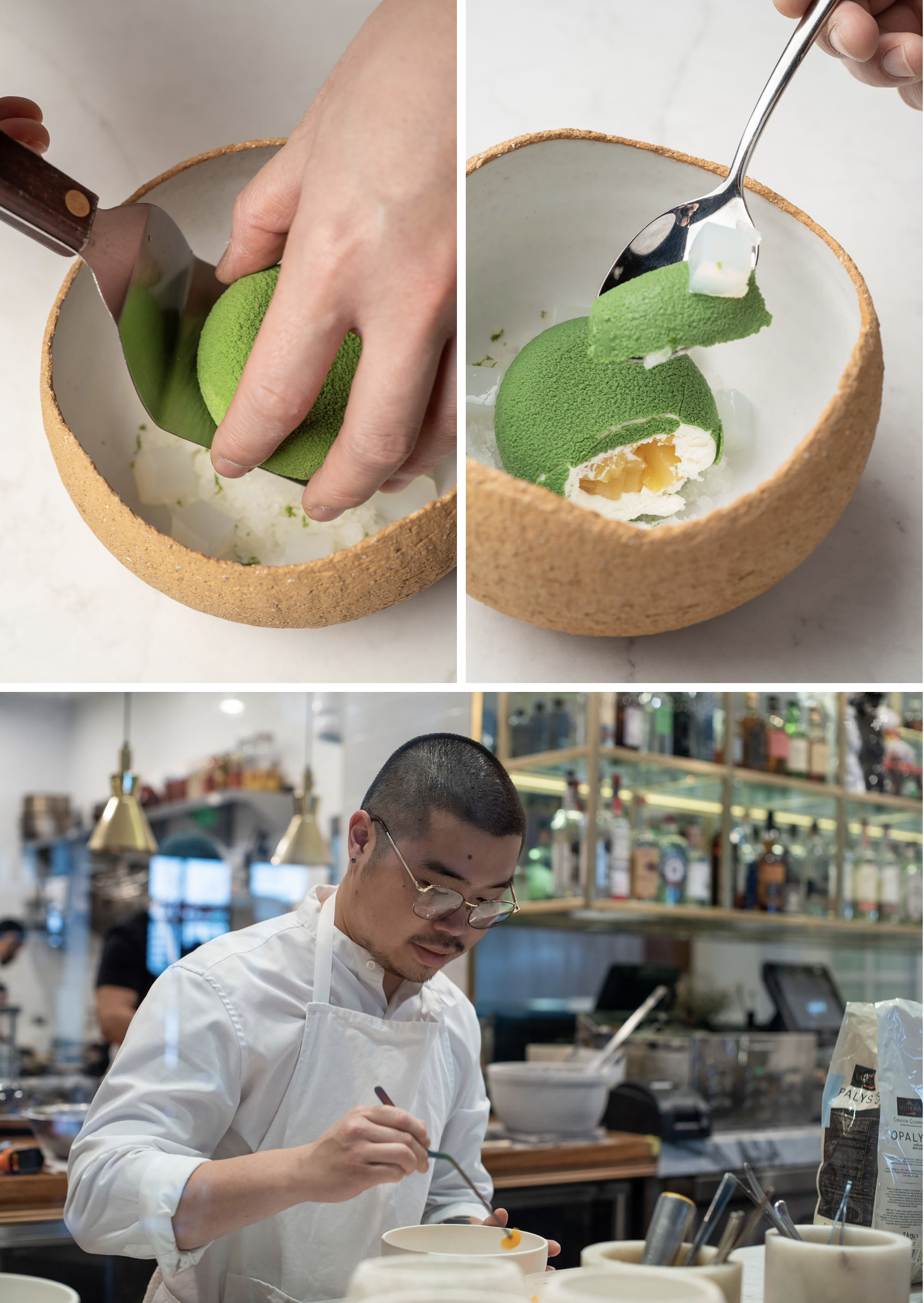 Boonthanakit plates a dish with coconut mousse, lime  coconut granita, pineapple, and nata de coco.  Ceramic vessel by MATCH stoneware.