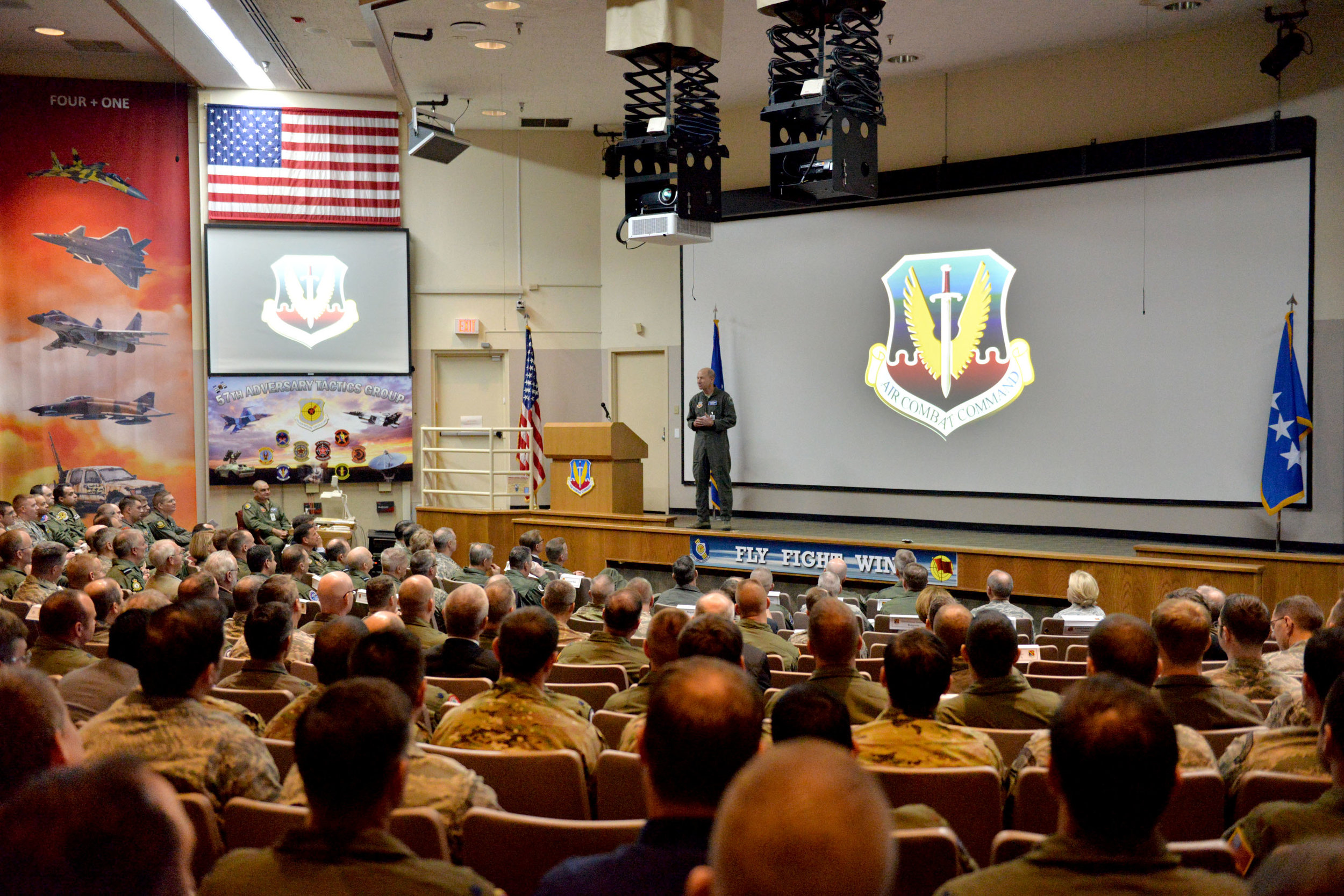 Gen. Mike Holmes, commander of the U.S. Air Force's Air Combat Command, presents a keynote speech during the 2018 Combat Air Force Weapons and Tactics Conference (CAF WEPTAC) at Nellis Air Force Base, Nev. WEPTAC is an annual two-week conference to bring together warfighters from Combat Air Forces to discuss current issues, to look at future issues and to provide solutions for joint and coalition air forces. PHOTO U.S. Air Force's Lawrence Crespo