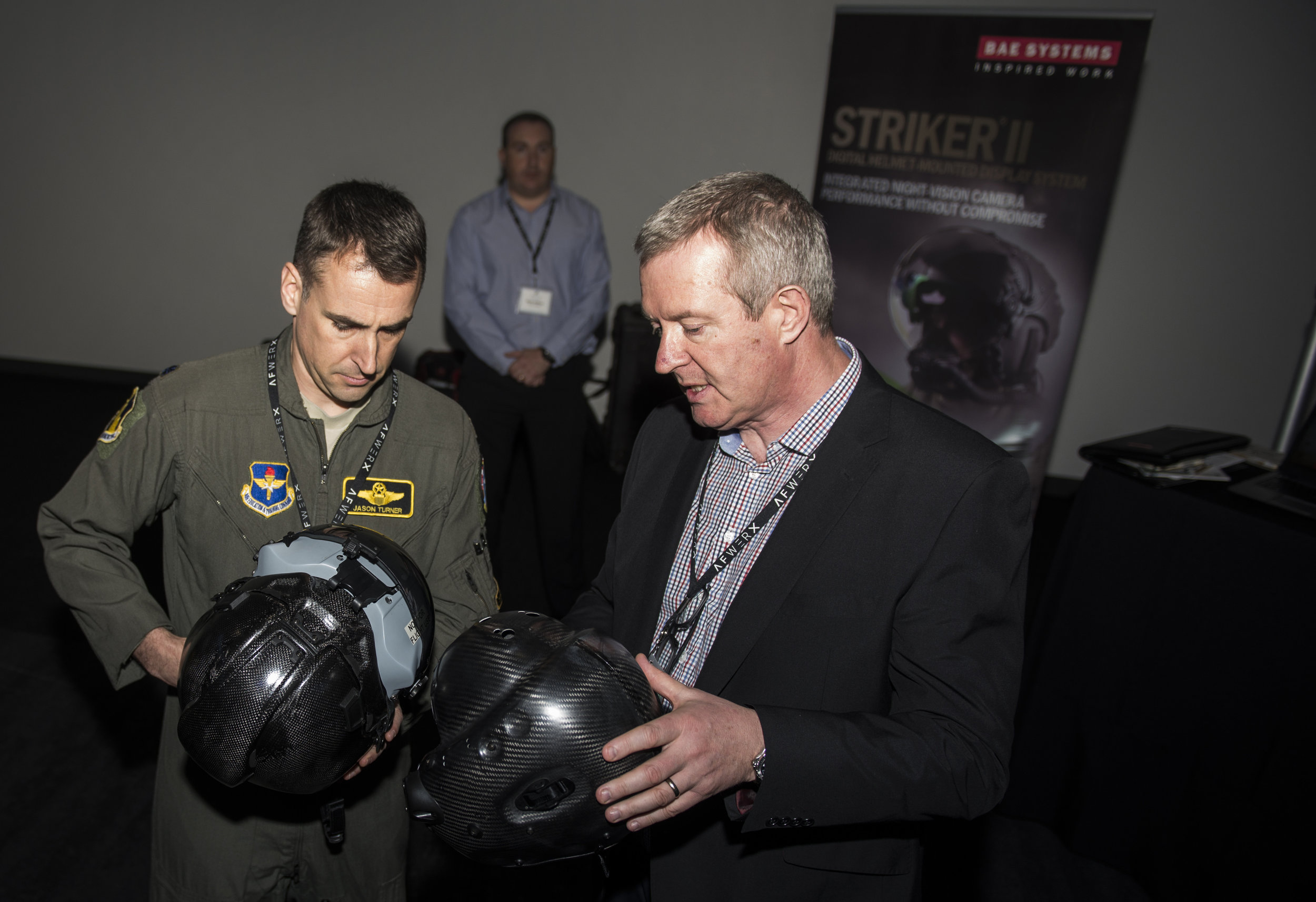 After approximately two months of problem-definition workshops with stakeholders and experts, as well as an on-line design challenge soliciting ideas from the public, the AFWERX Vegas Innovation Hub hosted 35 non-traditional potential vendors of components and full-helmet solutions in a November 2018 showcase. From these, a total of 10 vendors were configured into three teams. Each was tasked to develop prototypes. PHOTO: U.S. Air Force Airman 1st Class Bryan T. Guthrie