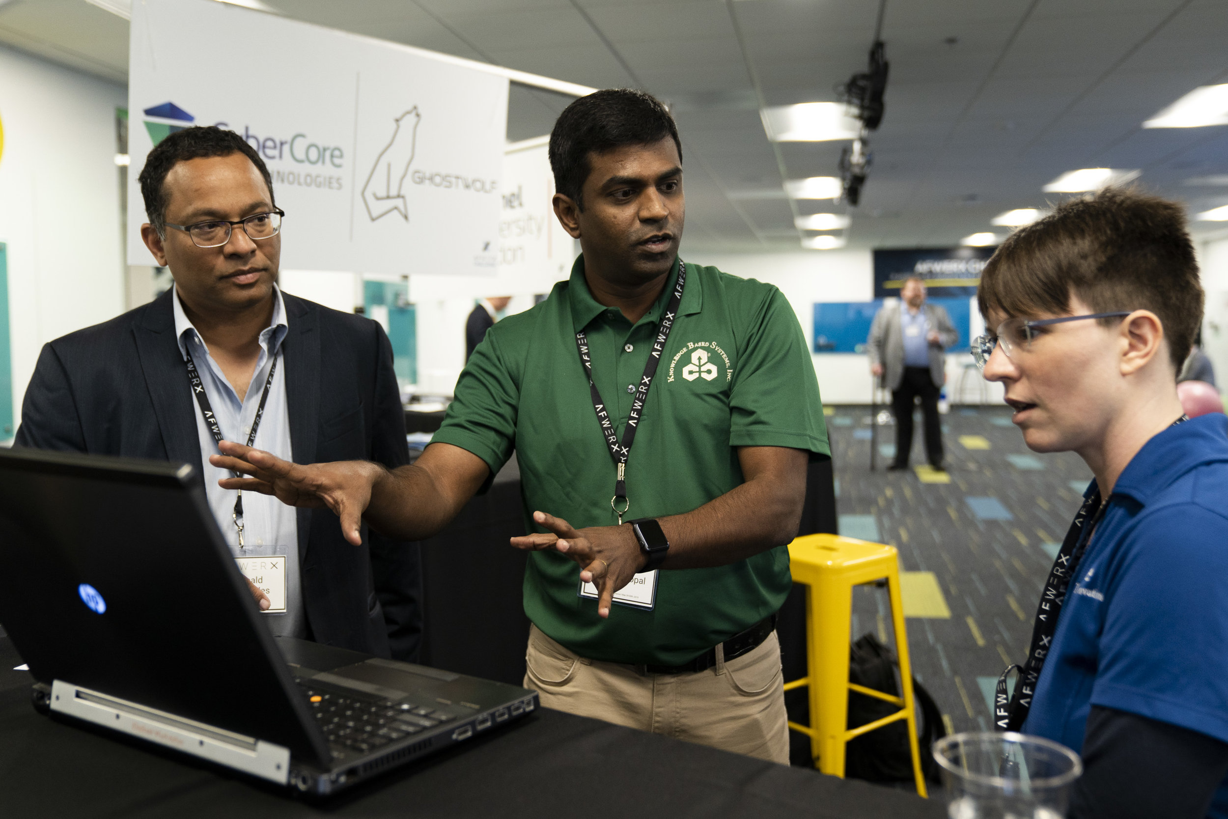 Karthic Mandanagopol of Knowledge Based Information Systems, Inc. discusses supply-chain provenance techniques with other participants at the showcase challenge held May 29-30 at the AFWERX Vegas Innovation Hub. Select participants will move on to a prototyping phase that will culminate in November 2019. The entire AFWERX innovations process will take less than 12 months, from initial challenge to prototype assessment. Photo by AFWERX Vegas