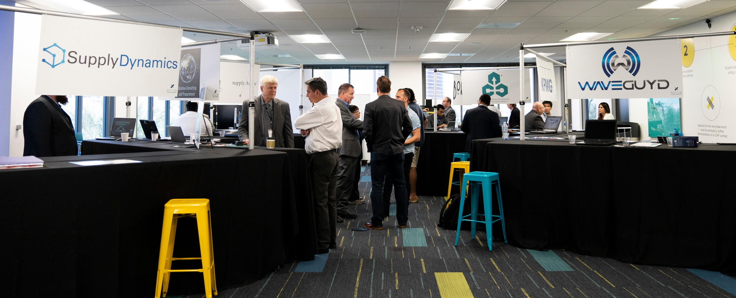 More than 20 vendors participated in showcase challenge event held May 29-30 at the AFWERX Vegas Innovation Hub. The first day consisted of informal tabletop exhibits along with private pitch sessions, during which participants were also encouraged to seek out opportunities for potential collaboration. Photo by AFWERX Vegas