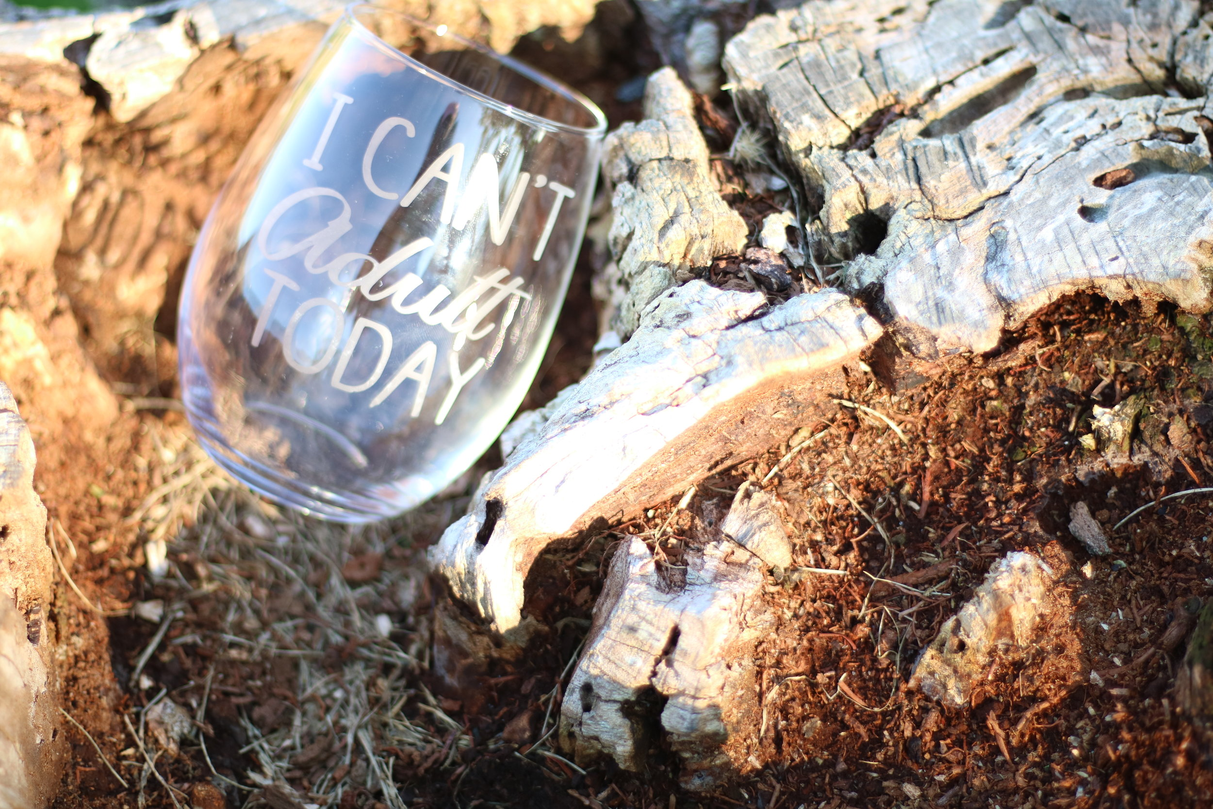 I Can't Adult - Etched Glass