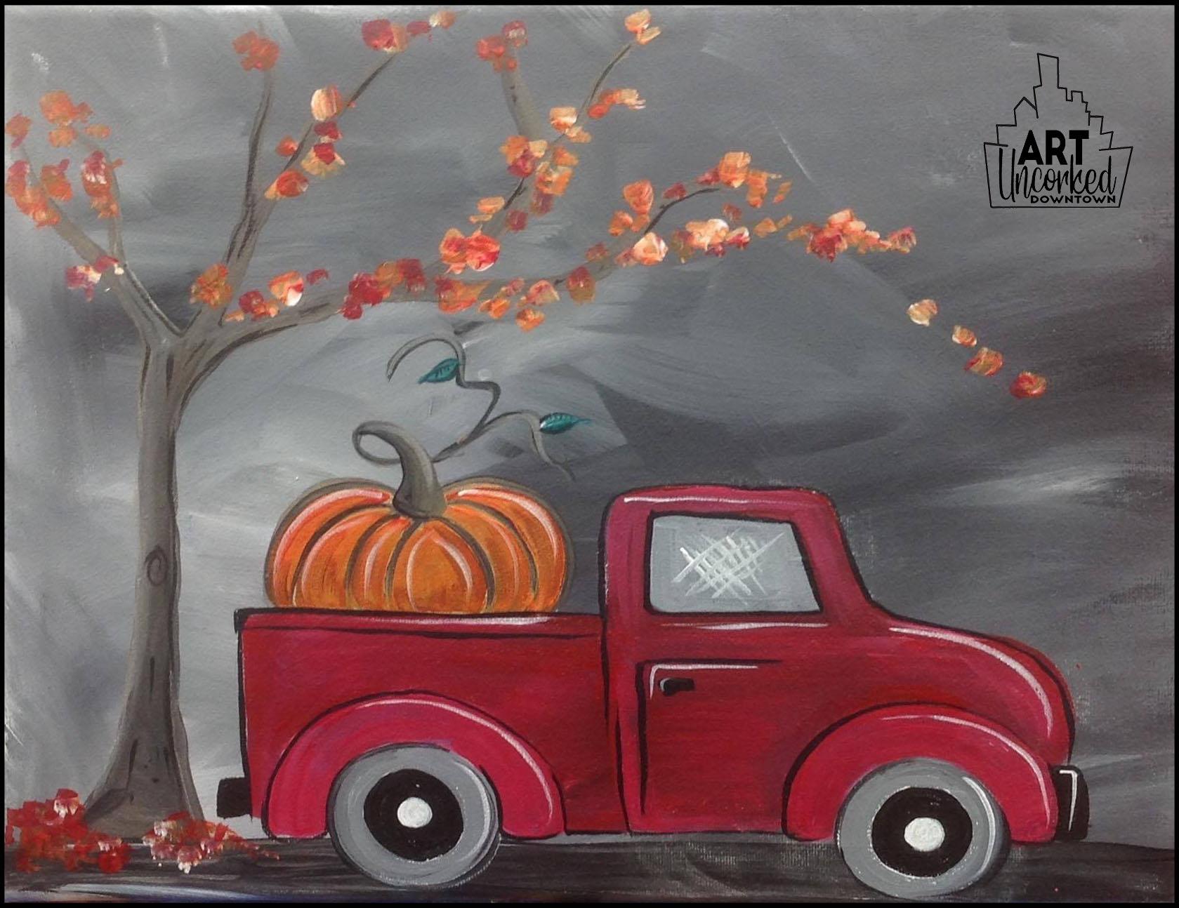 fall autumn red truck.jpg