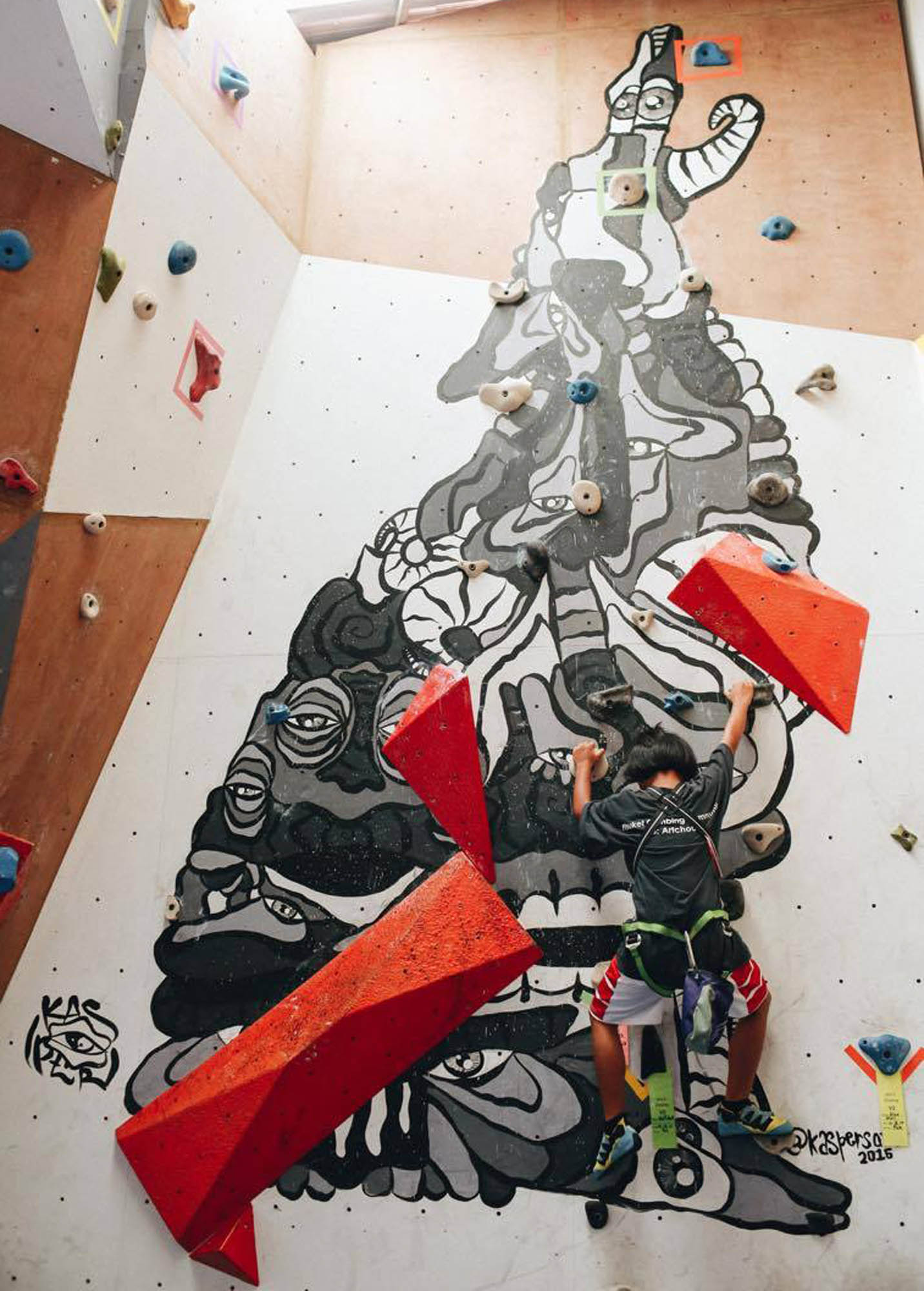 Rock Climbing mural painted at the Art-c-House in Phuket Thailand