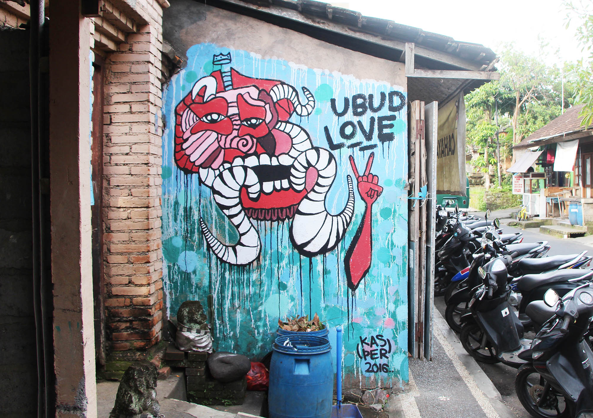 Showing love for the town painted in Ubud, Bali as a part of my artist residency with Cata Odata