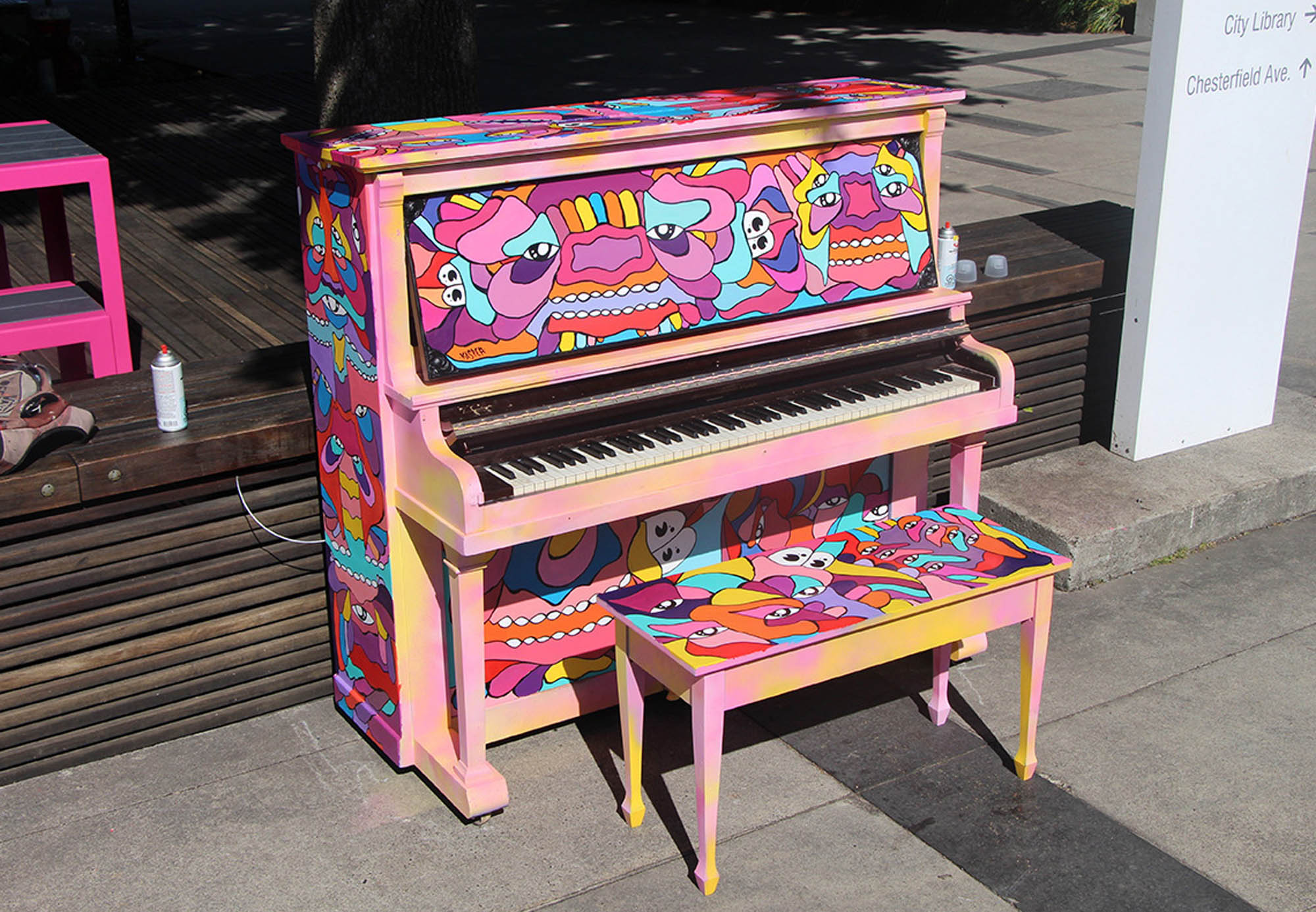Psychedelic Piano Piece painted as an installation for the North Vancouver Council & the Pianos on the Street Program