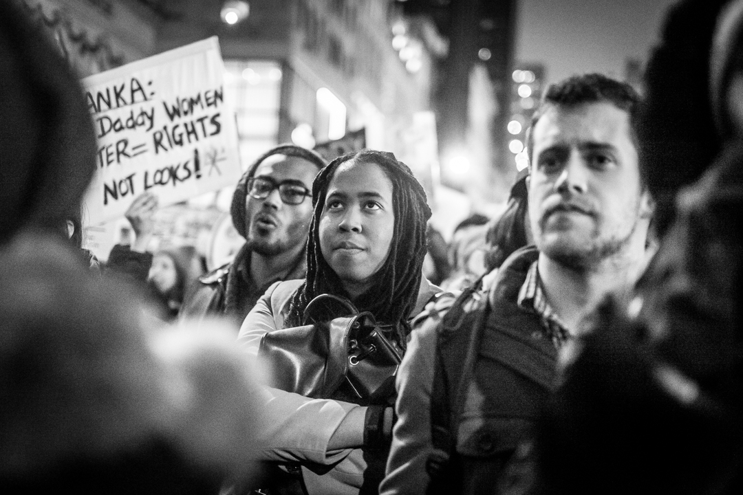New York, NY - Jan. 21, 2017: Protesters march on 5th Ave take part in The Women's March on NYC. The protest took place the day after the Presidential inauguration of Donald Trump and concluded at Trump Tower.