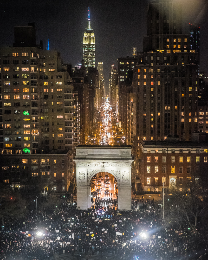 New York, NY - Jan. 25, 2017:  A bird's eye view of the  Emergency Rally for Muslim and Immigrant Rights, held at Washington Square Park the day after Donald Trump announced a plan to ban Muslim immigration into the U.S.