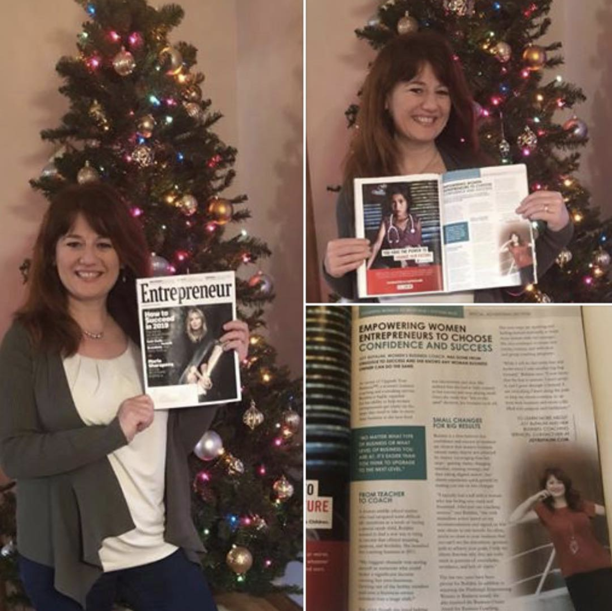 Photo : Instagram post by Joy Bufalini after receiving her copy of Entrepreneur with her featured story. Best Christmas gift ever!