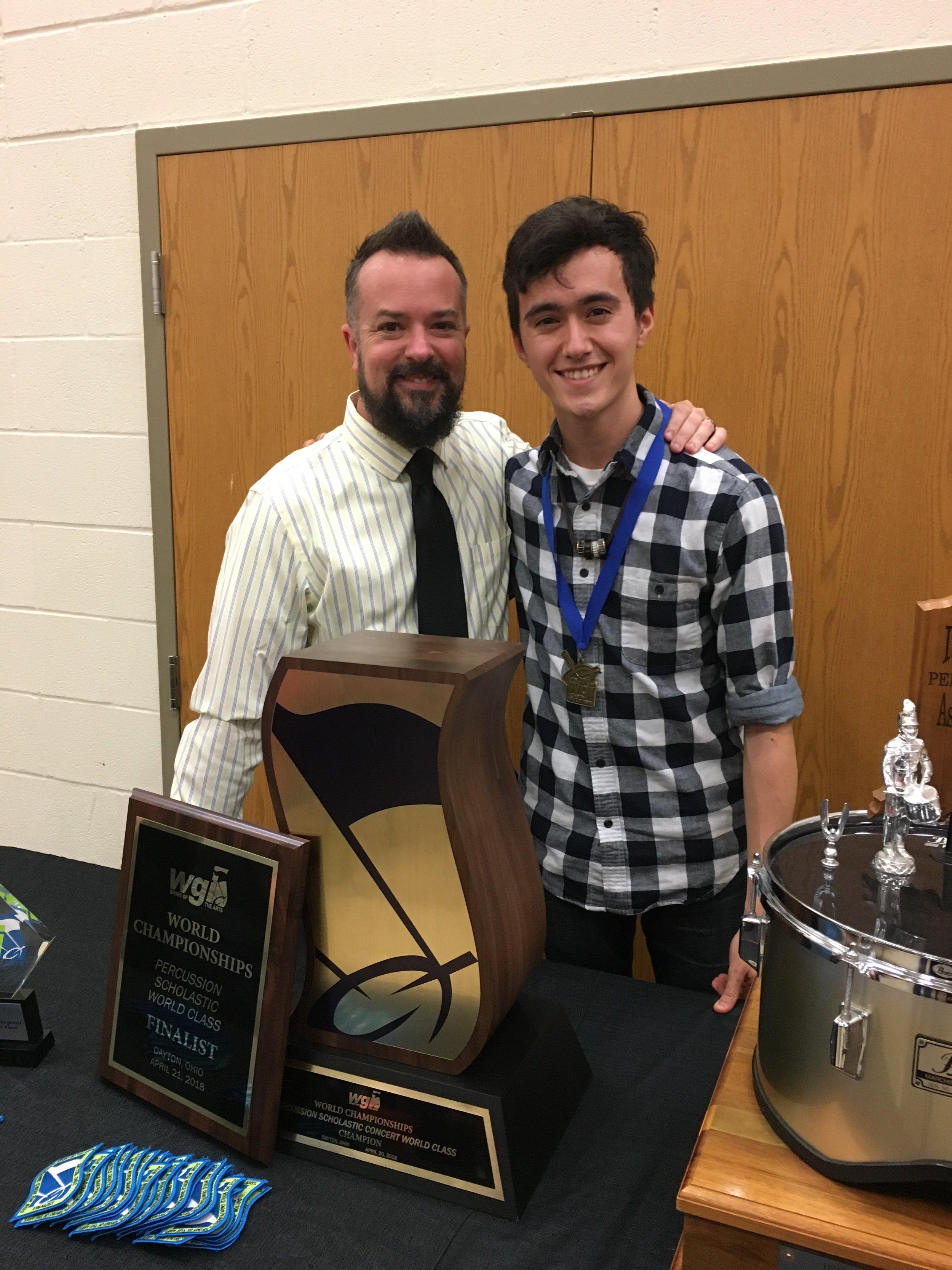With former teacher Chad Kohler