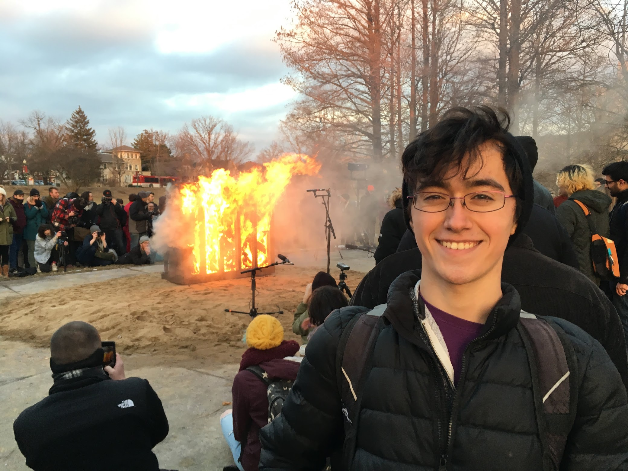 """photo by  John William Griffith II   February 7, 2018 - performance of """"Piano Burning"""" by Annea Lockwood  Indiana University, Dunn Meadow"""