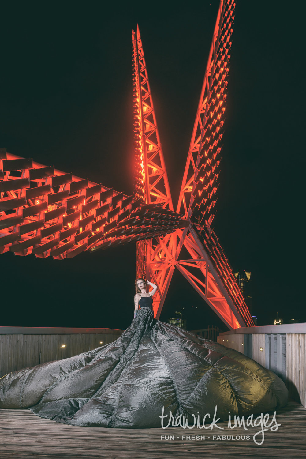 """We had a break in the weather and scrambled for the SkyDance Bridge. We quickly threw Ami in the parachute dress. Terri manned the battery powered wind machine to keep the """"dress"""" flowing while I shot away and demo'd the Interfit S1 500W light."""