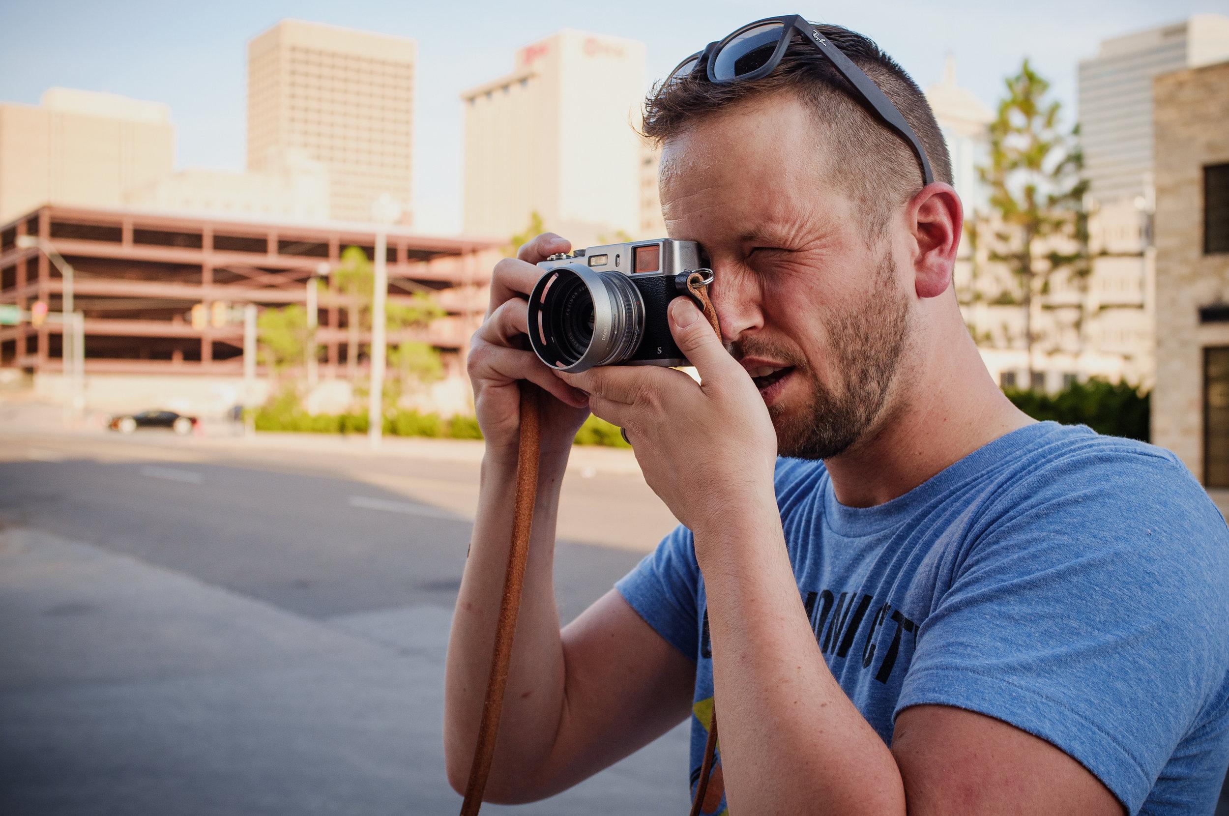 Thomas Perez working an FufjiFilm X-T100 during the ADA Camera Club PhotoWalk in OKC