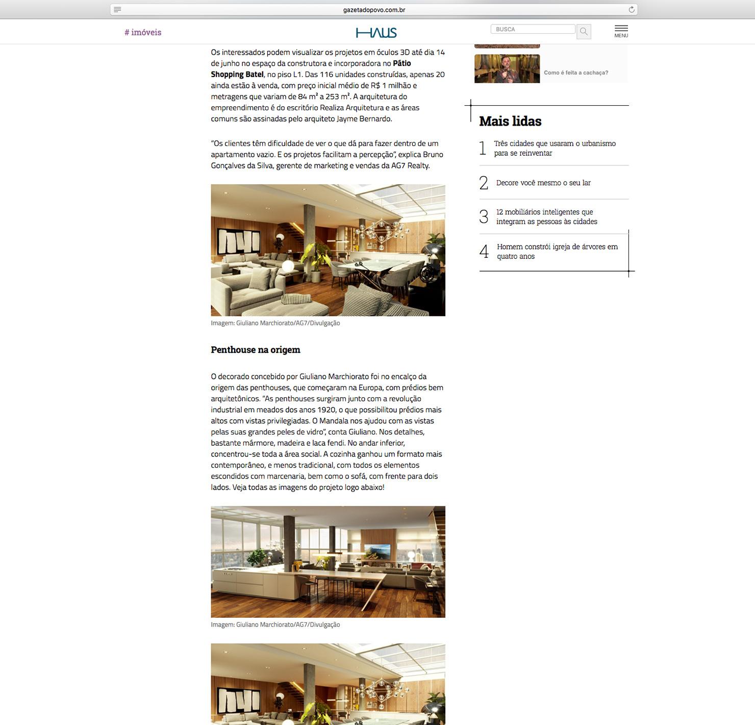 Apartamento Mandala  HAUS Gazeta do Povo |  Link