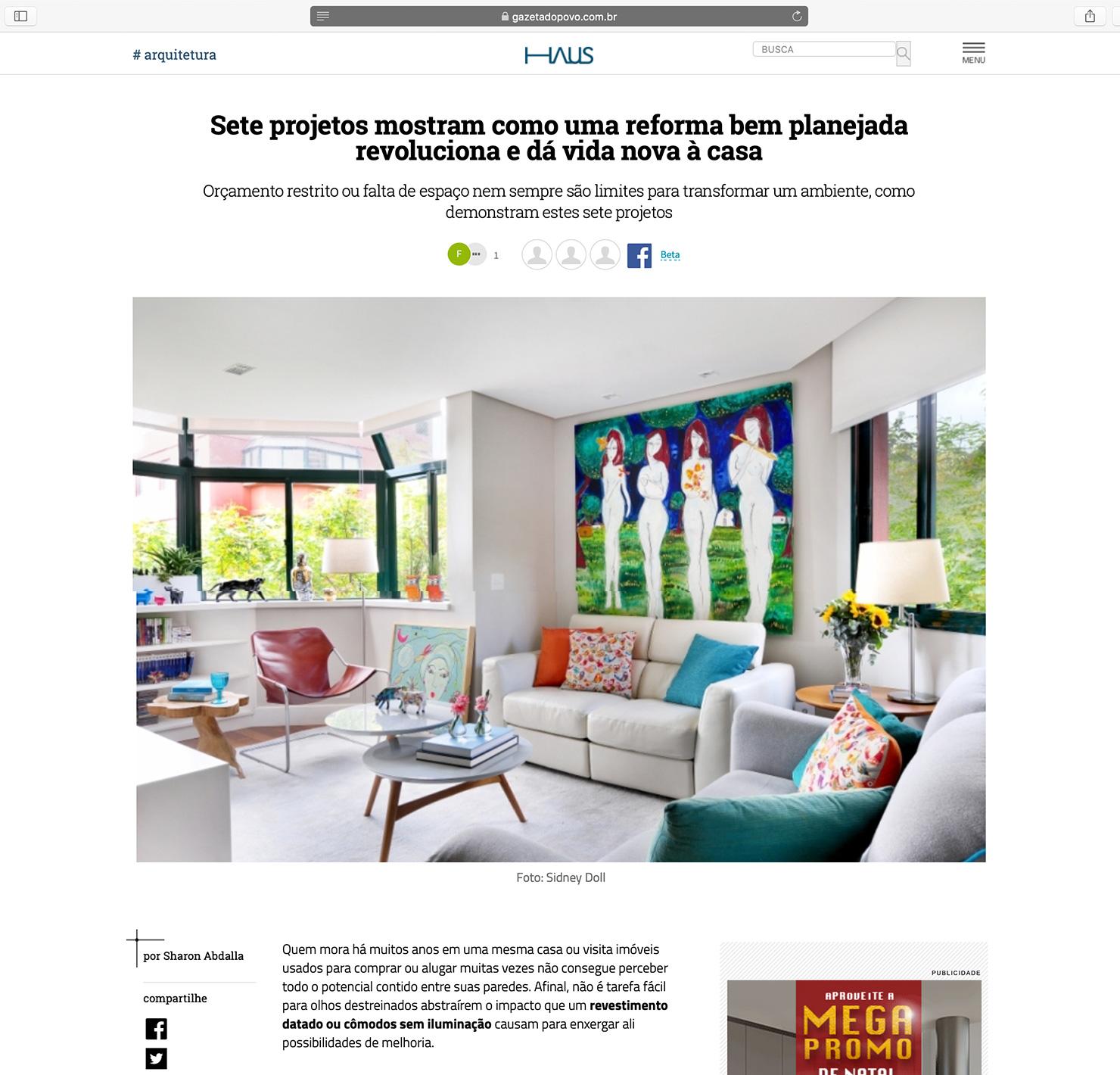 Apartamento Foto  HAUS Gazeta do Povo |  Link