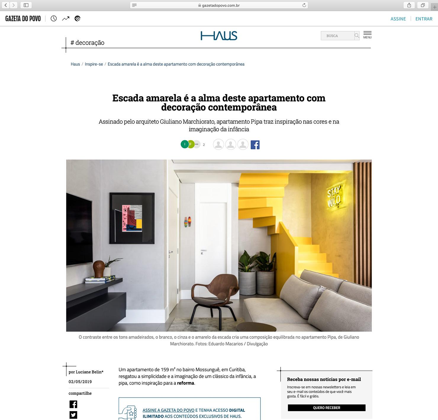 Apartamento Pipa  HAUS Gazeta do Povo |  Link