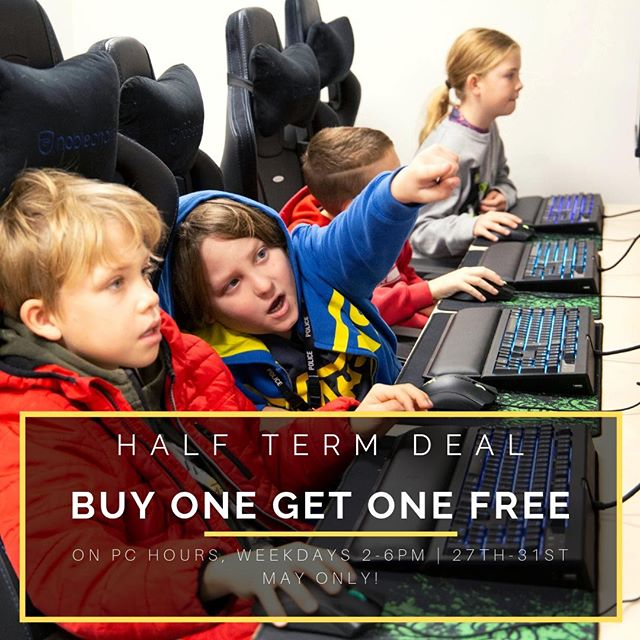 OUR HALF TERM DEALS ARE BACK! BUY ONE GET ONE FREE ON PC HOURS BETWEEN 2-6PM THIS HALF TERM. AVAILABLE 27TH-31ST MAY.  #Pcgaming #halftermdeals #b1g1f