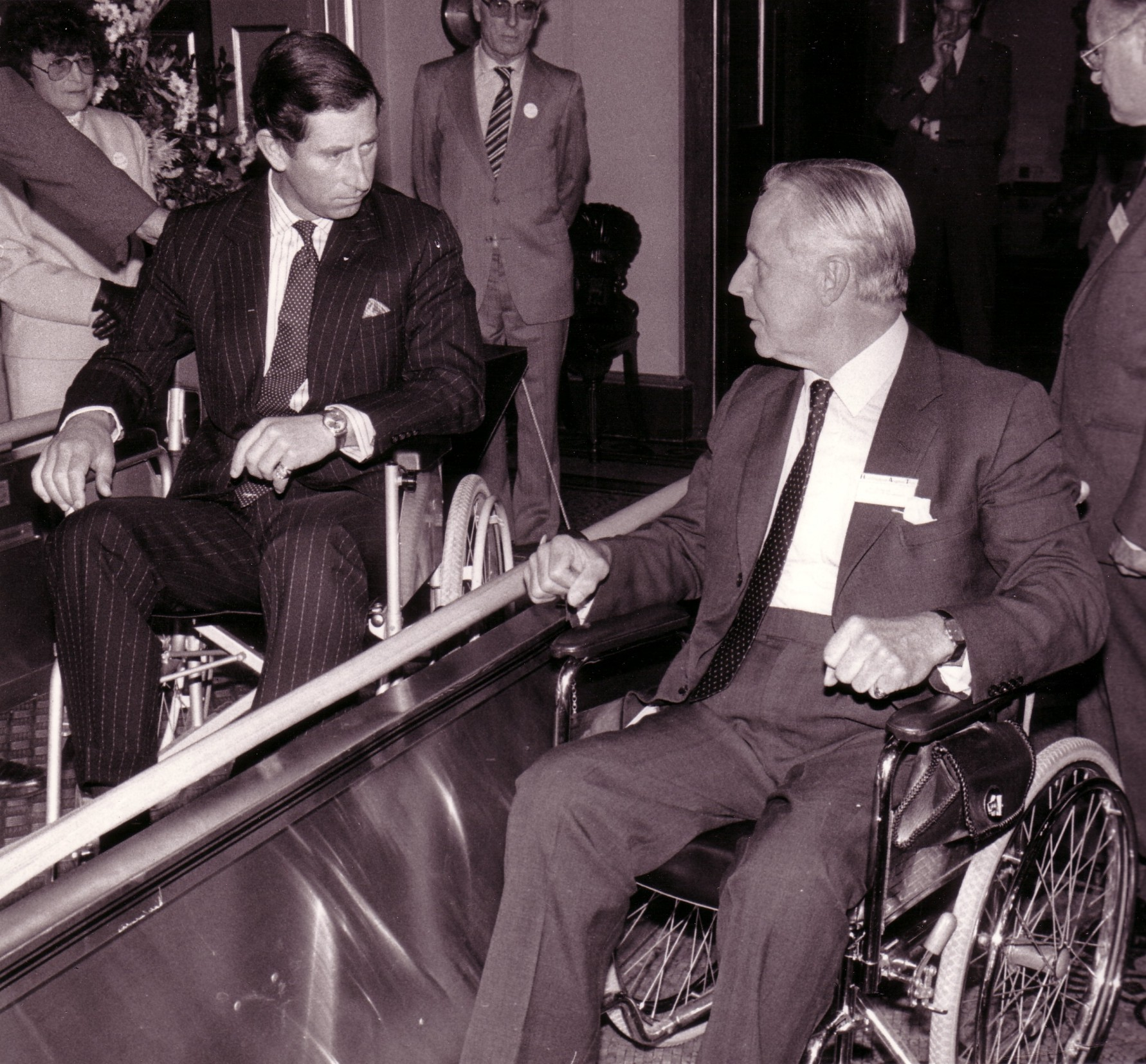 HRH Prince Charles and founding Trustee, Bill Buchanan, at our official launch at Fishmongers' Hall in 1985.