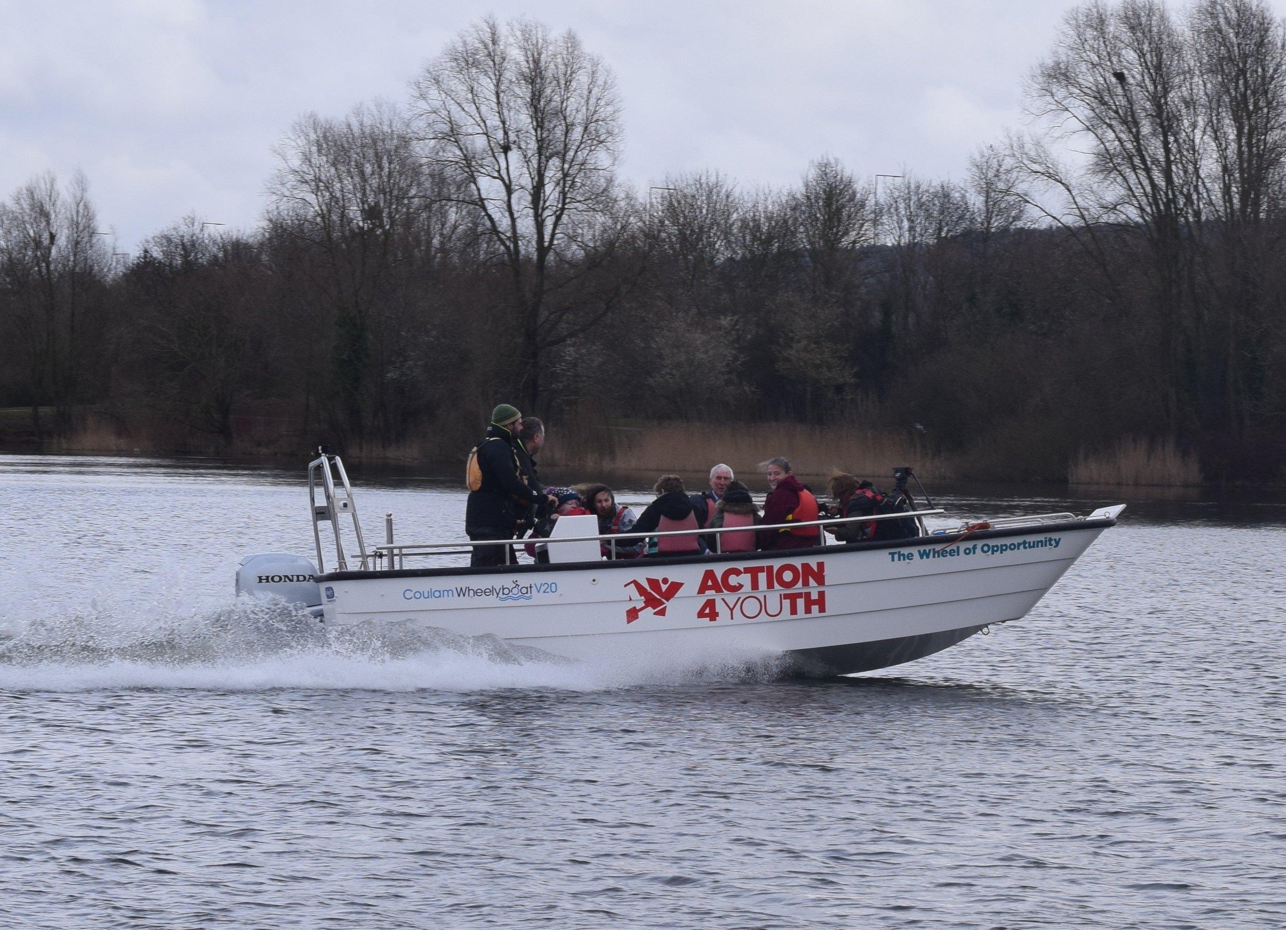 Action4Youth's new Wheelyboat makes waves on Caldecotte Lake.jpg