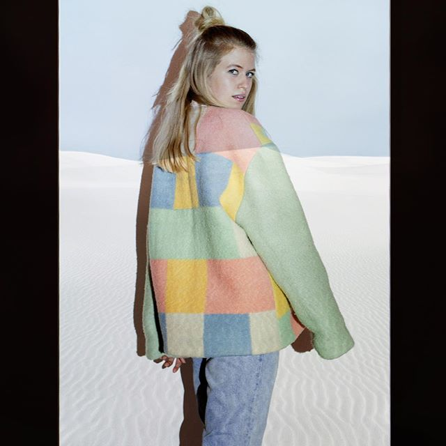 Masha Maria AW 17/18 campaign. Vintage recycled wool, handmade and unique. Model: @karlijngroenendijk Photographer: @renatachedeprints  #handmade #woolcoat #youngdesigner #pastel #travel #eyecatcher #streetwear #candy