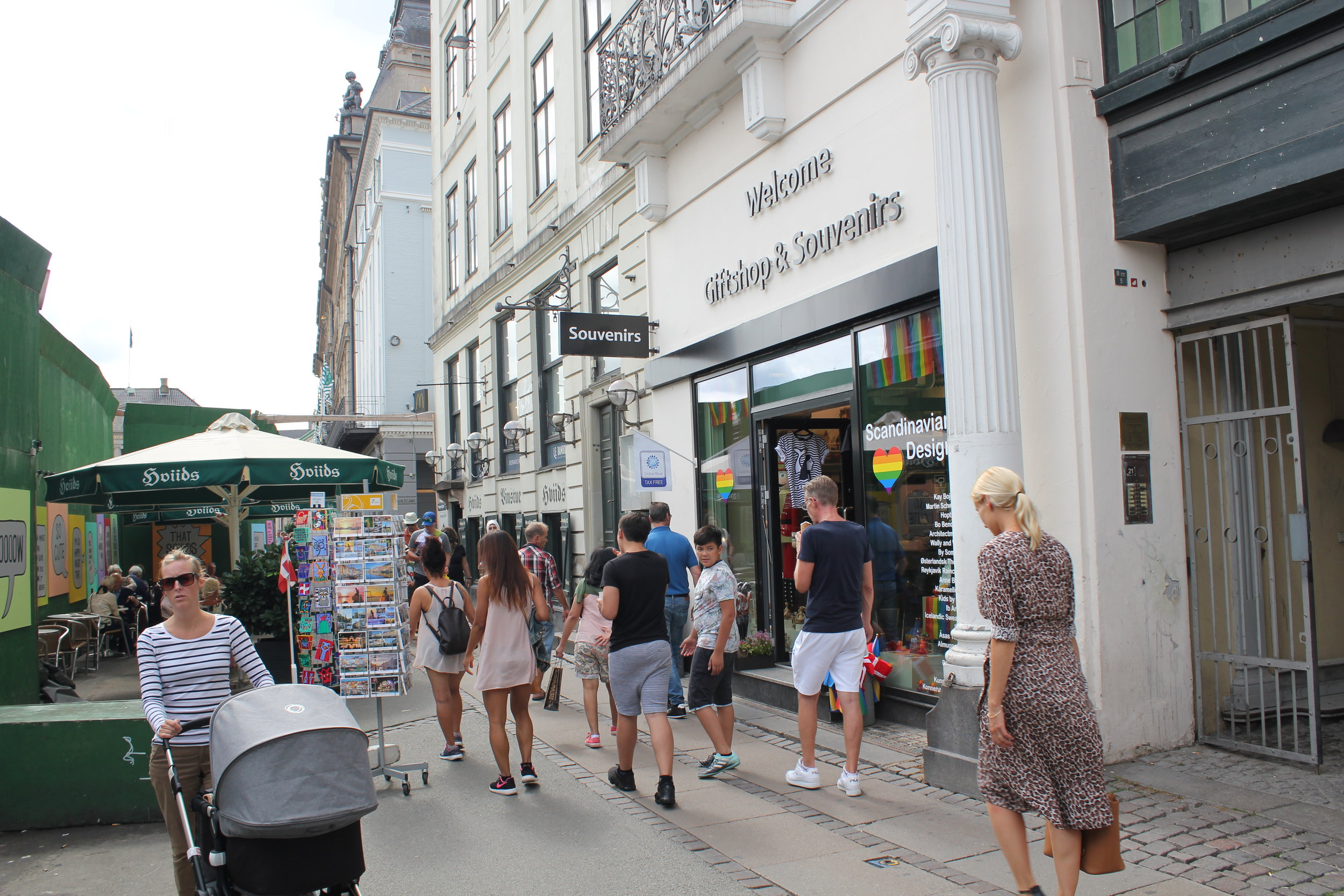 Summer street scene at our shop on Kongens Nytorv