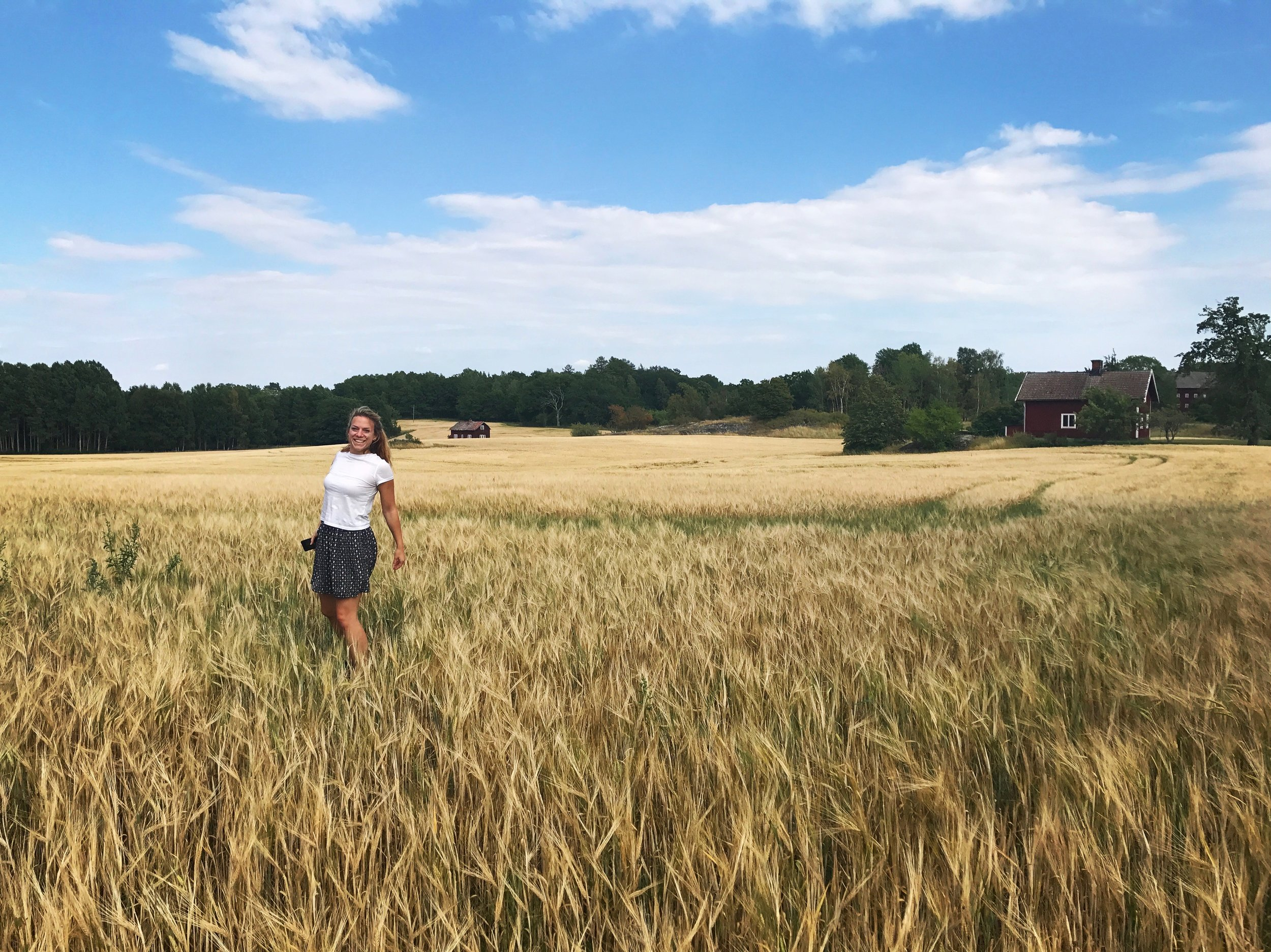 In the fields outside Jennifer Jansch Summer House in Sweden after a Bag-All Conference