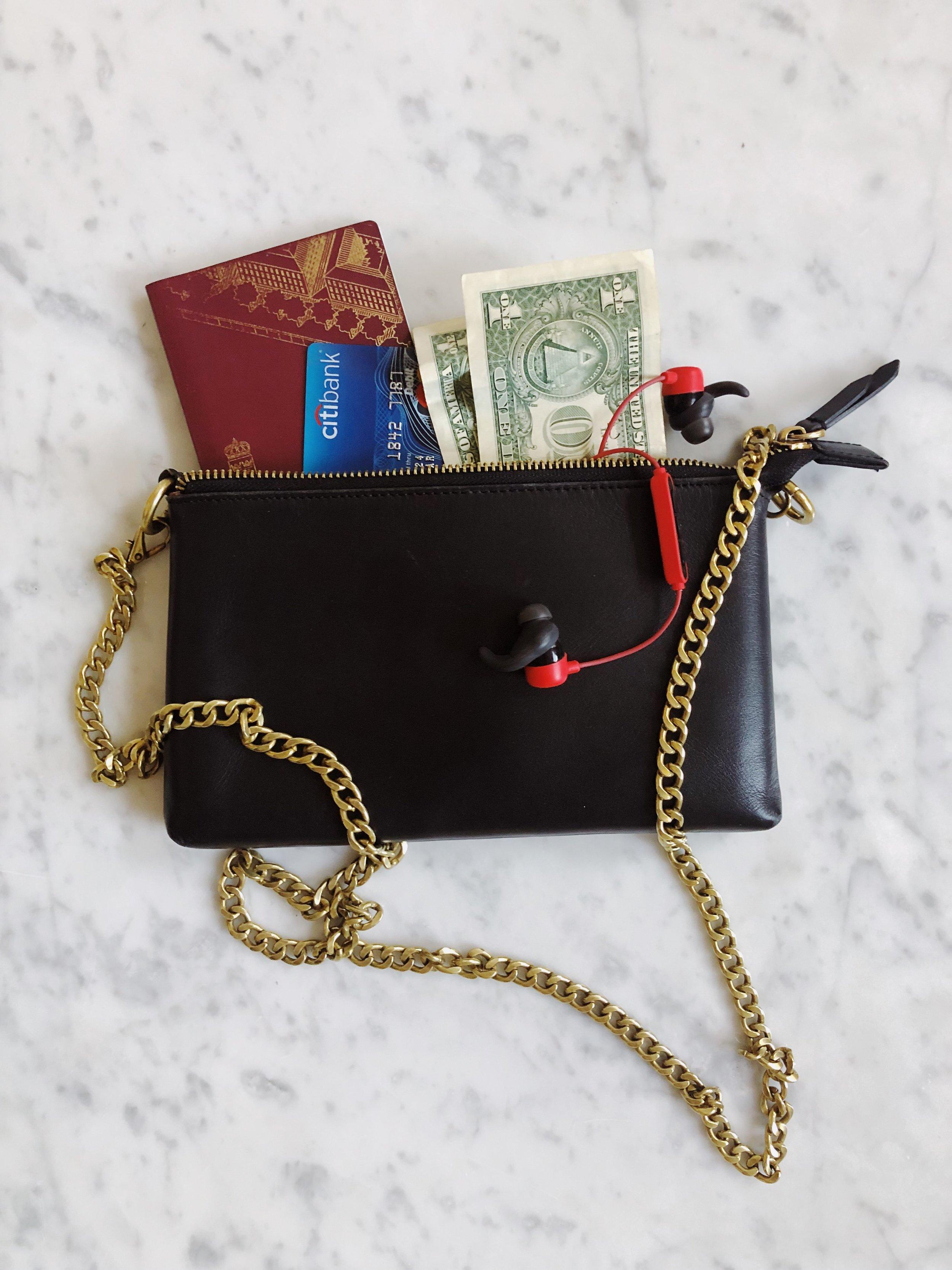 1. Passport  2. Money/Credit cards  3. Earbuds