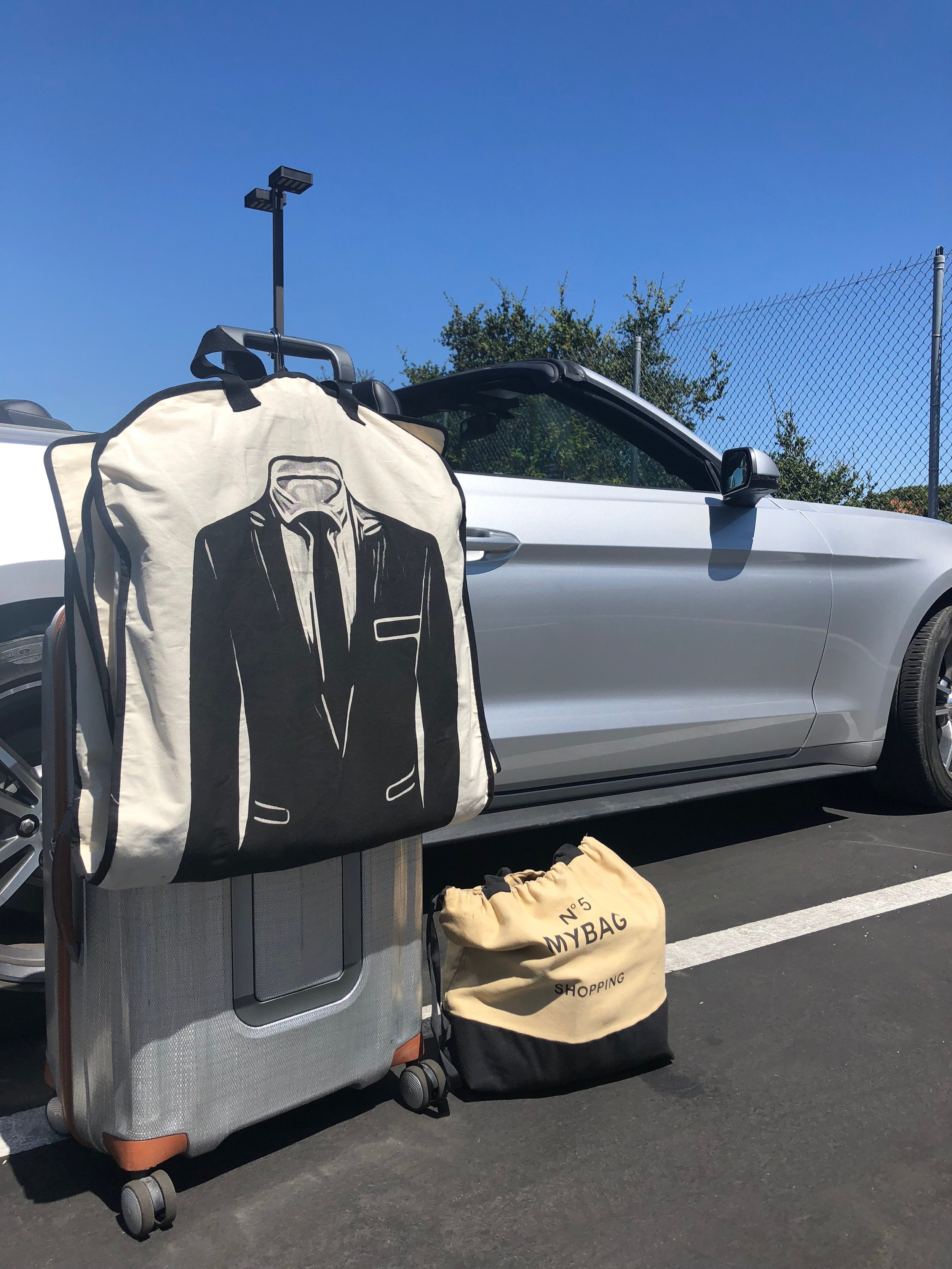 Travel Hack #3 - If you need to bring some nice clothes (in our case we started off the trip with a wedding), a garment bag is necessary for making sure your suit or dress keeps protected.